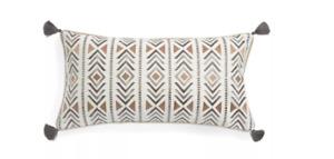 Santa Fe - Embroidered Chevron Decorative Pillow - Tan, Grey and White - Levtex