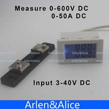 DC voltmeter ammeter range DC 0-600V 0-50A Blue backlight DC 3~40 Input