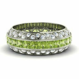 3.50 Ct Certified Diamond Peridot Eternity Bands 14K Solid White Gold Size N M L