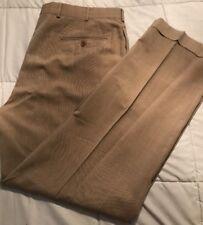 Brooks Brothers 346 Tan 100% Wool Cuffed Pleated Dress Pants 36/32