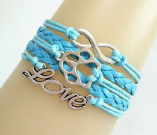 Infinity LOVE With Dog Pet Paw Prints Charms Leather Braided Bracelet - Blue