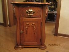 Solid Oak Cabinet End/Side Table-Great Storage & Great Condition