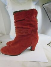 Blondo Canada Red Suede Heel Boots Women's Size 8 1/2 M