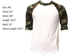 3/4 Sleeve Plain T-Shirt Baseball Raglan Men's Tee  White Green Camouflage 3XL
