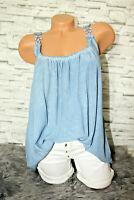 Italy Bluse Hängerchen Gr.36 38 40 42 Blumen Träger blogger Top blau Shirt