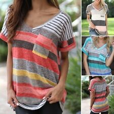 Womens Loose Casual Striped Tops Ladies Short Sleeve Boho Shirts Blouses Tops