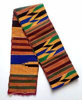 Traditional Kente Handwoven Stole Sash Asante Scarf African Textile Art Cloth