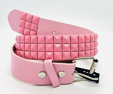3 ROW METAL PYRAMID STUDDED BELTS BOLD COLORS SKATER PUNK ROCK GOTH GOTHIC