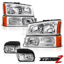 2003-2006 Chevy Silverado Chrome [Factory Style] Bumper Headlights+Fog Lamps Kit