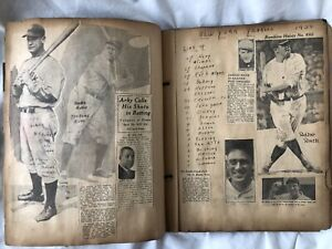 Antique Vtg 1934 Baseball Scrapbook Babe Ruth Lou Gehrig Jimmie Foxx Old 1930s