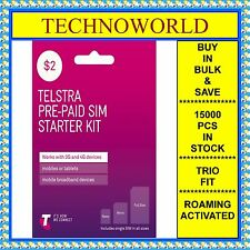 Telstra $2 Prepaid Sim Card+3G/4G+Standard/Micro /Nano 3 In 1+Roaming Activated