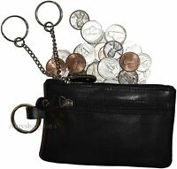 Change purse, Leather Zip coin wallet, 2 pocket coin case w/key ring Coin case.