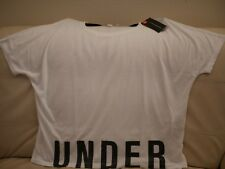 S Women's Under Armour White T-shirt Top Large Black Letters 1290676