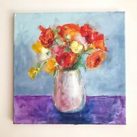 """Original Acrylic Pastel Painting Flowers Square 16x16"""" Still Life.FineArt Signed"""