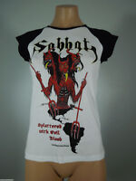 SABBAT Splattered... White GIRLIE Shirt Black Cap Sleeves M (R.I.P. Records) NEW