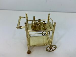 Vintage Mini Land Dollhouse Miniature Brass Bar Tea Serving Cart