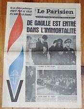 JOURNAL PARISIEN LIBERE 13 NOVEMBRE 1970 MORT GENERAL DE GAULLE FUNERAILLES