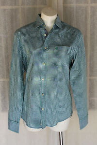 SIZE S MARC O'POLO GREEN WHITE CHECK COLLARED BUTTON UP LONG SLEEVE SHIRT 🎲