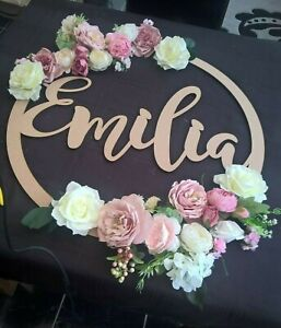 Personalised Wooden Floral Name Hoop Circle Sign Wall Plaque Wood MDF Decor