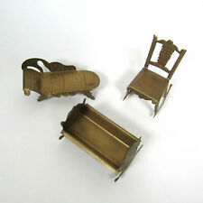 Antique Dollhouse Metal Furniture Gold Tin? Vtg Cradle Lounge Sofa Chair Rocking