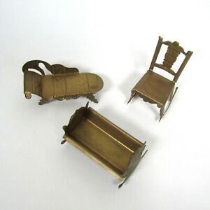 Antique Dollhouse Metal Furniture Gold Tin? Vtg Cradle Lounge Sofa Chair Rocking