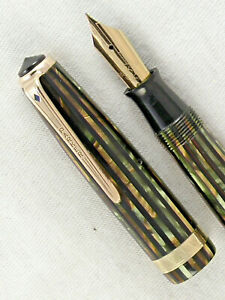 VINTAGE 1946 STRIPED DUOFOLD SENIOR PARKER VACUMATIC FOUNTAIN PEN ~ RESTORED!