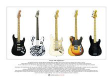More details for famous pink floyd guitars limited edition fine art print a3 size