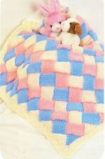 Chunky Knitting Pattern for Pretty Entrelac Baby Blanket (184)