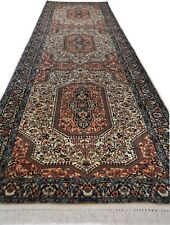 Hand knotted carpet / rug, runner wool brown Kashmir (80 X 326 cm)