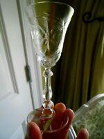 Vintage Dessert Wine Glass Crystal  Stemware Elegant Cut Daisy Faceted