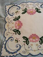 """Amazing Madeira Bright Pink Rose  Cutwork & Embroidered Table Runner 27"""" x 12.5"""""""