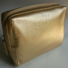 M&S ~ Gold PU Leather Make-Up Cosmetics Toiletry Purse Bag MARKS & SPENCER