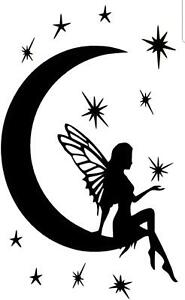 Good Fairy Moon Stars Vinyl Decal Wall Sticker Art Mural Decor Girls Room