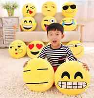 "13"" Emoji Emoticon Throw Plush Soft Pillow Round Yellow Stuffed Sofa Cushion Toy"