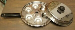 """Vintage LIFETIME T304 Stainless Steel Cookware 10"""" Frying Pan Lid & Egg Poacher"""