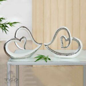 Gilde Skulptur Objekt  Herz SCOLARE aus Keramik weiß silber 24cm