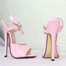 "Sexy 36 uk3 us5 17cm 7"" high heels mules pink patent SM BDSM sandals straps"