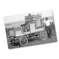 1920's Traveling Popcorn Truck and Salesman Black and White 11x17 Poster