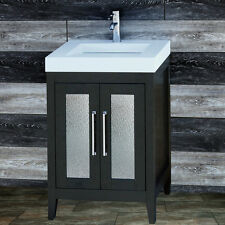 "24"" Bathroom Black Vanity 24-inch Cabinet Solid Surface Top integrated sink A24S"