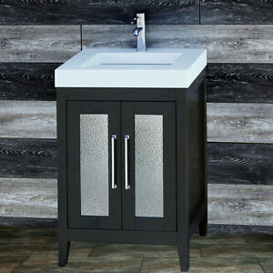 """24"""" Bathroom Black Vanity 24-inch Cabinet Solid Surface Top integrated sink A24S"""
