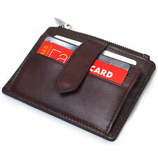 Genuine Leather Clutch Credit Card Wallet Zipper Coin Purse ID Photo Holder