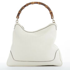 e204ccf81b9f GUCCI Diana cream pebbled leather bamboo handle 2 way shoulder bag handbag
