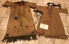 Lot 2 Camp Fire Girls Gown Dress Leather Fringe Patches Beads Provenance MA 1915