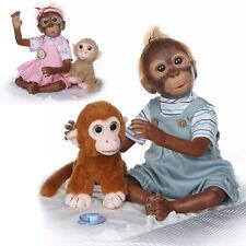 """Lifelike 20"""" Reborn Monkey Girl Boy Dolls Twins Baby Dolls Cloth Body Playmates"""