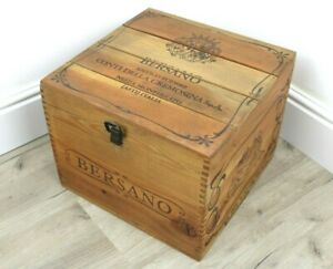 Cassa Cassetta SCATOLA di LEGNO Porta Bottiglie Pubblicitario BERSANO Vintage