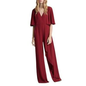 Halston Womens V-Neck Asymmetric Wide Leg Jumpsuit BHFO 0360