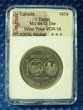 CANADA 1974 Nickel Dollar, Double Die, West Yoke, VCR-16 in slab holder #107