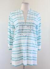 Michael Kors Blue White Striped Silver Stud Beaded 3/4 Sleeve Tunic Blouse Top S