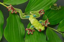 Frog Embroidered Brooch Toad Jewelry Green Frog Pin Beaded Brooch