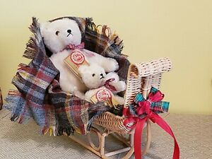 Pair of Hermann White Mohair Bears in Wicker Holiday Sleigh